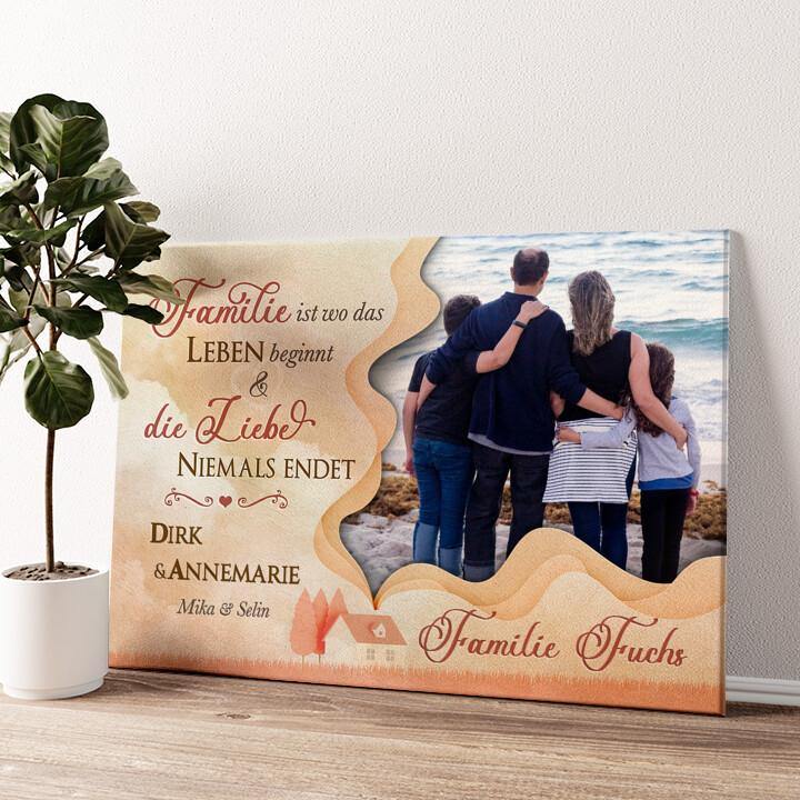 Heimat der Familie Wandbild personalisiert