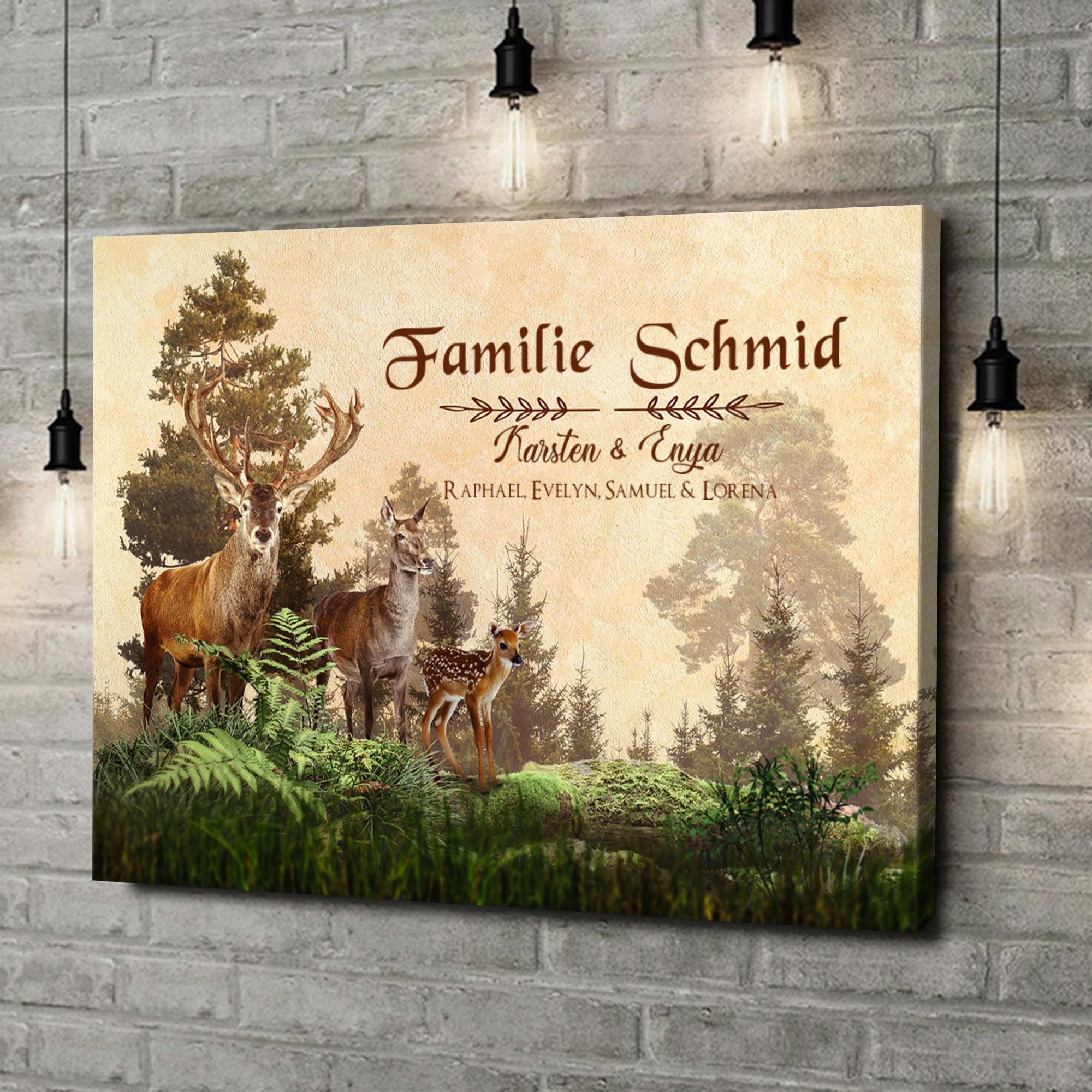 Leinwandbild personalisiert Hirschfamilie