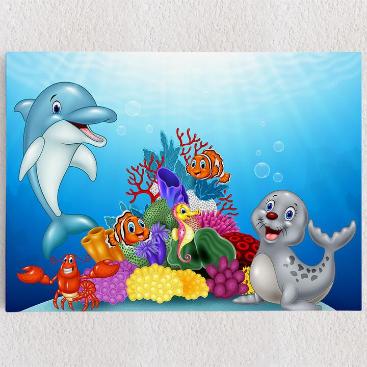 Personalisiertes Leinwandbild Cartoon Unterwasserwelt