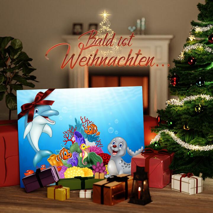Liebesleinwand zu Weichnachten Cartoon Unterwasserwelt