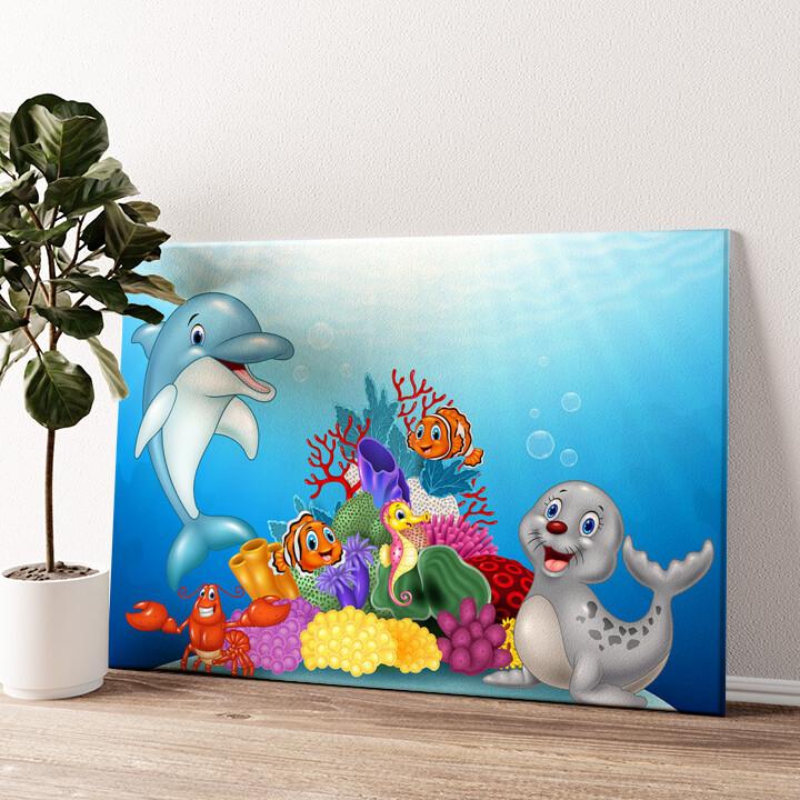 Cartoon Unterwasserwelt Wandbild personalisiert