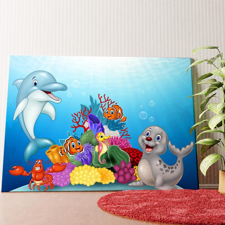 Personalisiertes Wandbild Cartoon Unterwasserwelt