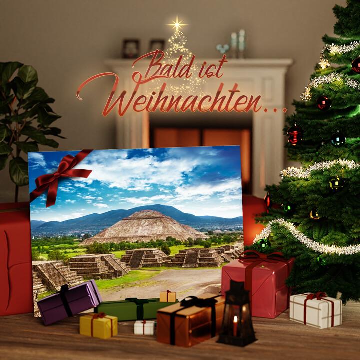 Liebesleinwand zu Weichnachten Teotihuacán Pyramiden in Mexiko