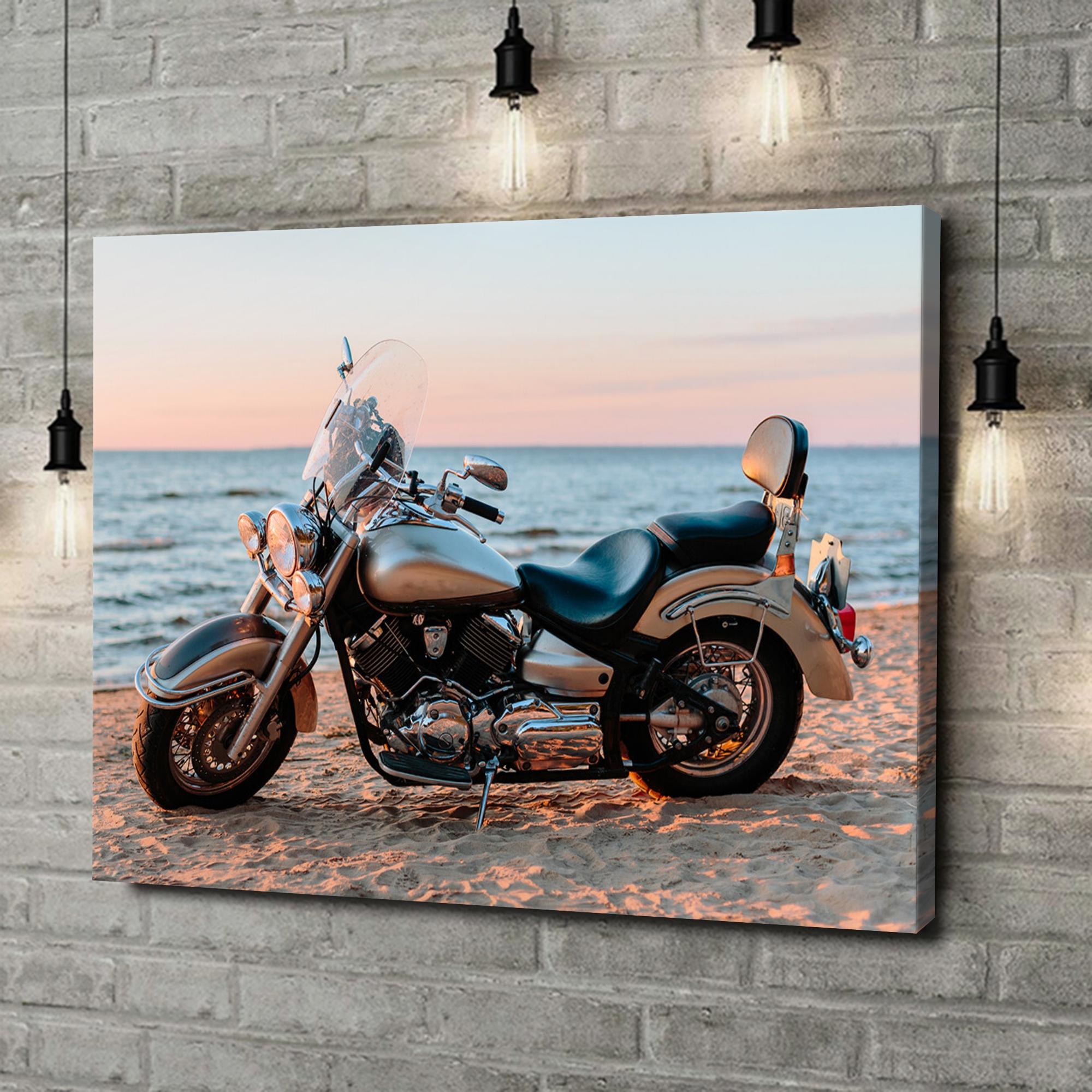 Leinwandbild personalisiert Motorrad am Strand