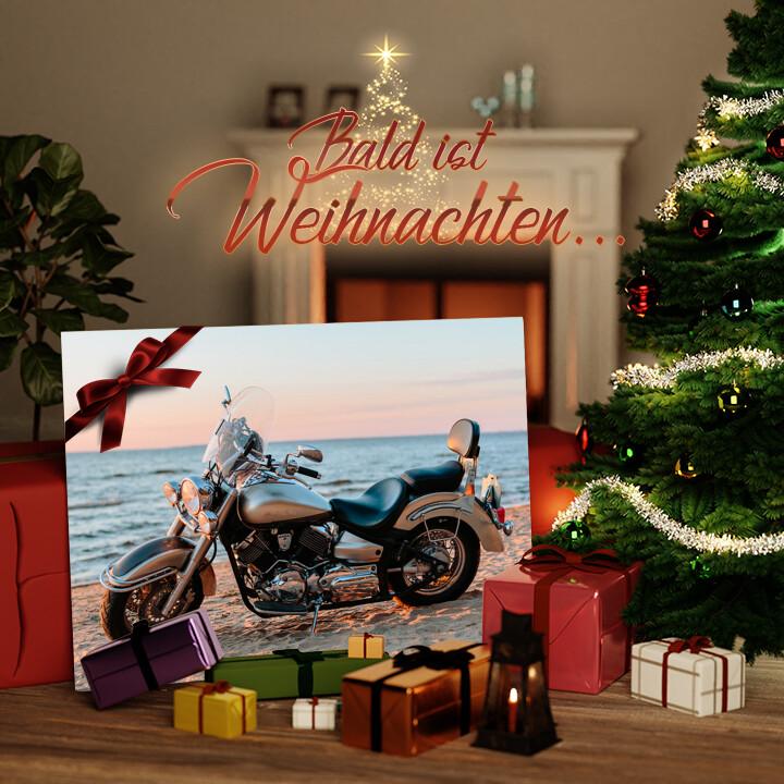 Liebesleinwand zu Weichnachten Motorrad am Strand