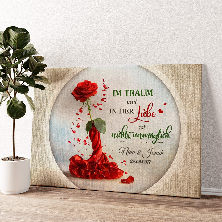 Rose für zwei Wandbild personalisiert