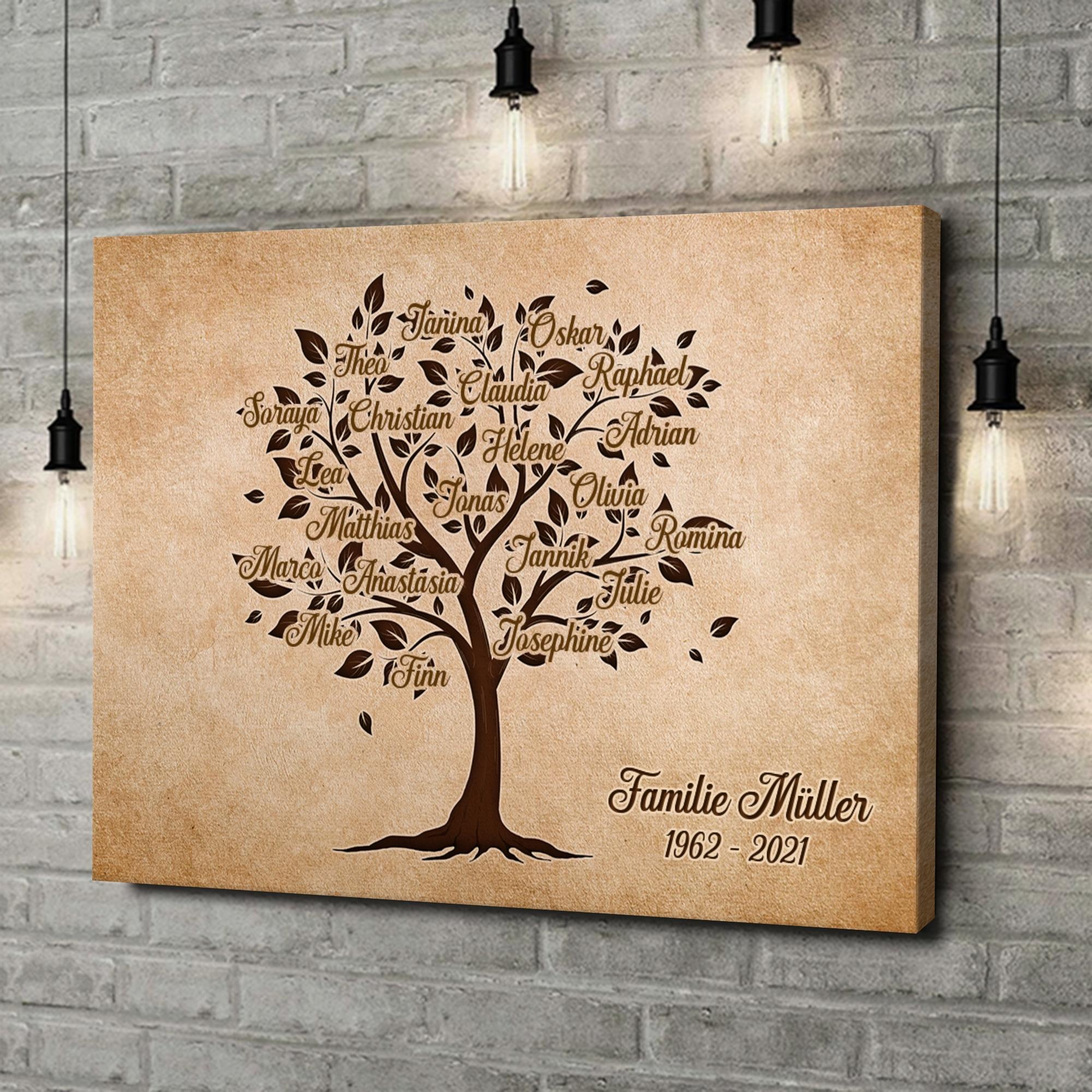 Leinwandbild personalisiert Familienbaum
