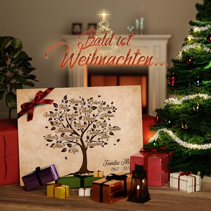 Liebesleinwand zu Weichnachten Familienbaum