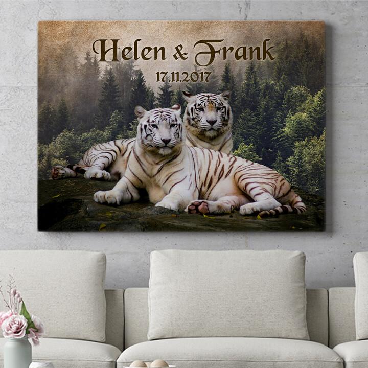 Personalisierbares Geschenk Weiße Tiger