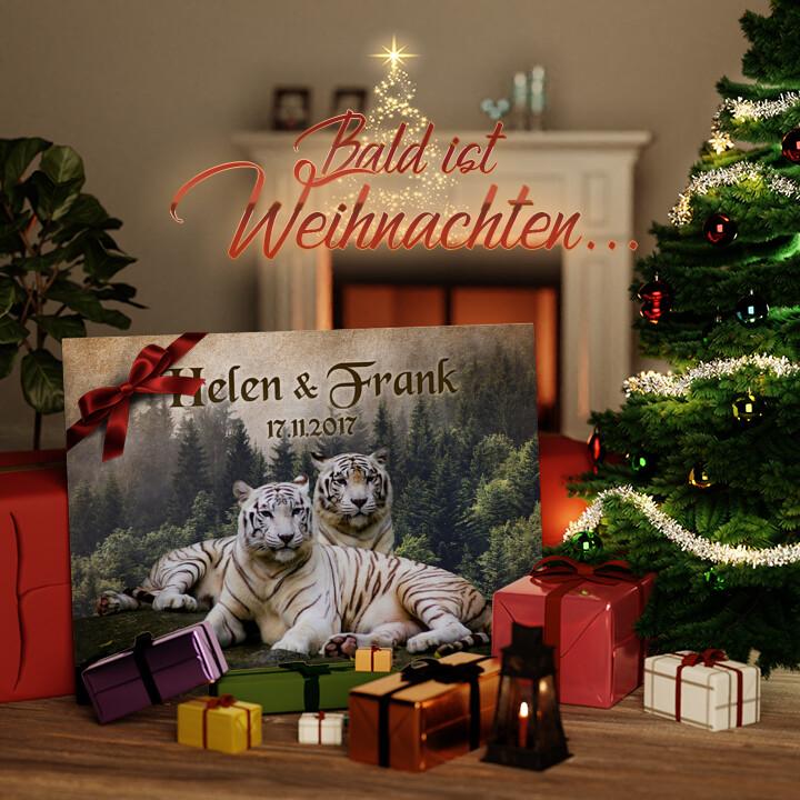 Liebesleinwand zu Weichnachten Weiße Tiger