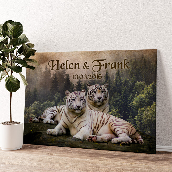 Weiße Tiger Wandbild personalisiert