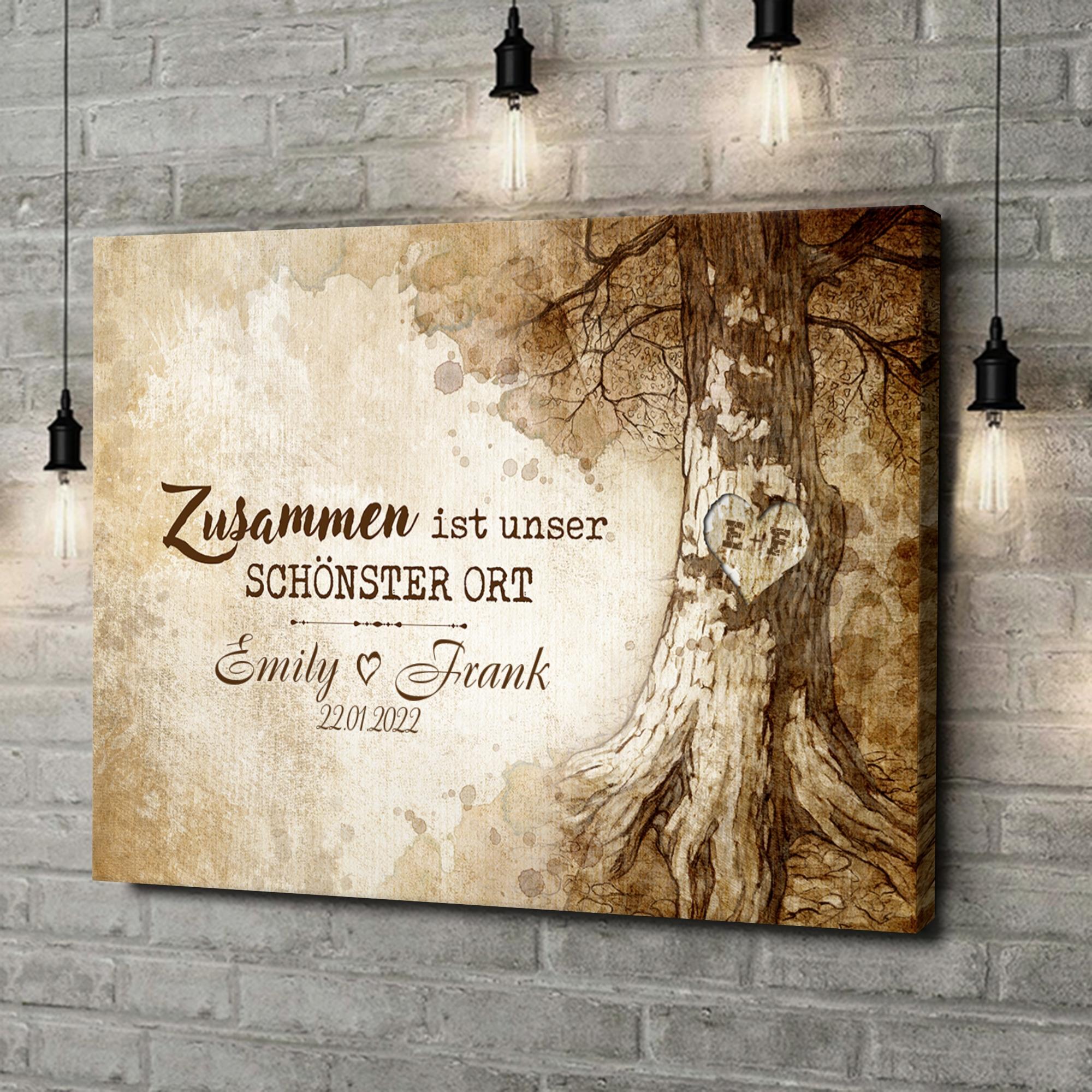 Leinwandbild personalisiert Baumherz