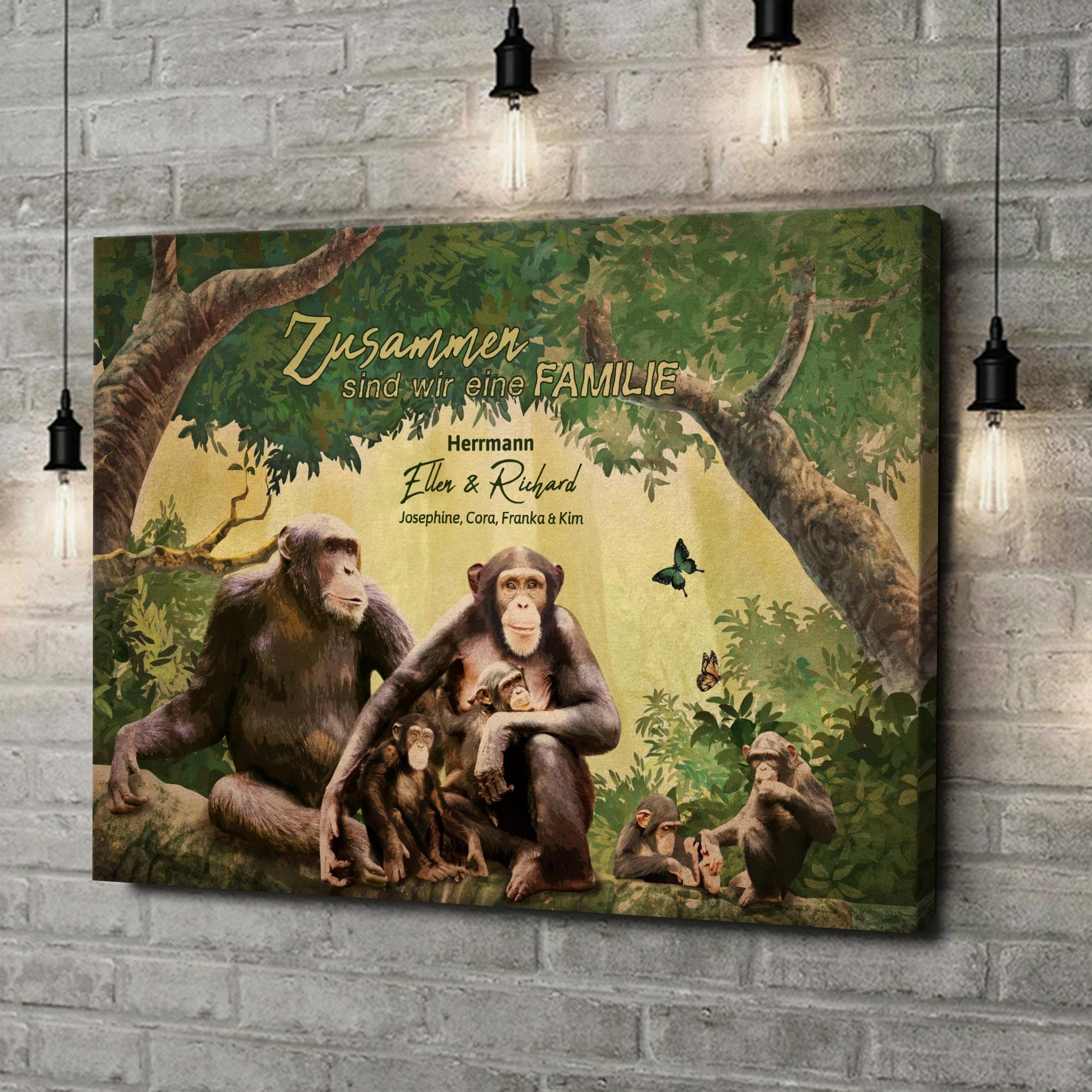 Leinwandbild personalisiert Affenfamilie