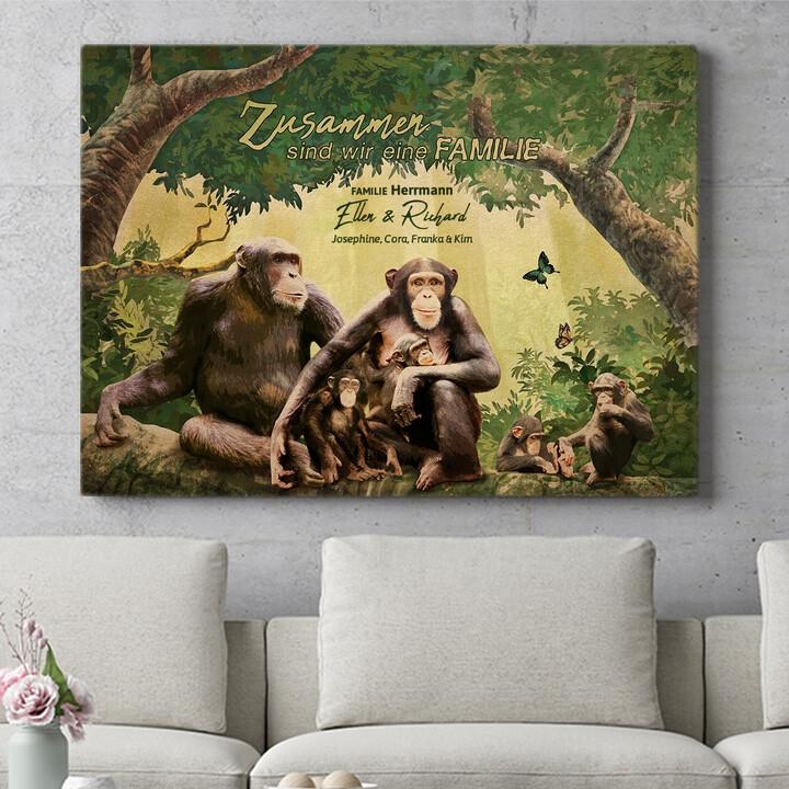 Personalisierbares Geschenk Affenfamilie