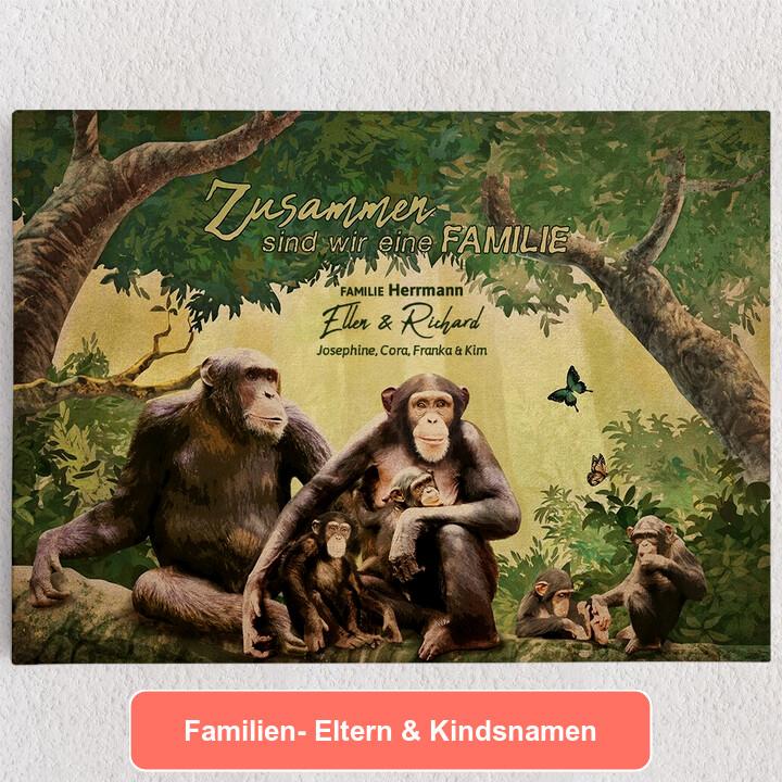 Personalisiertes Leinwandbild Affenfamilie