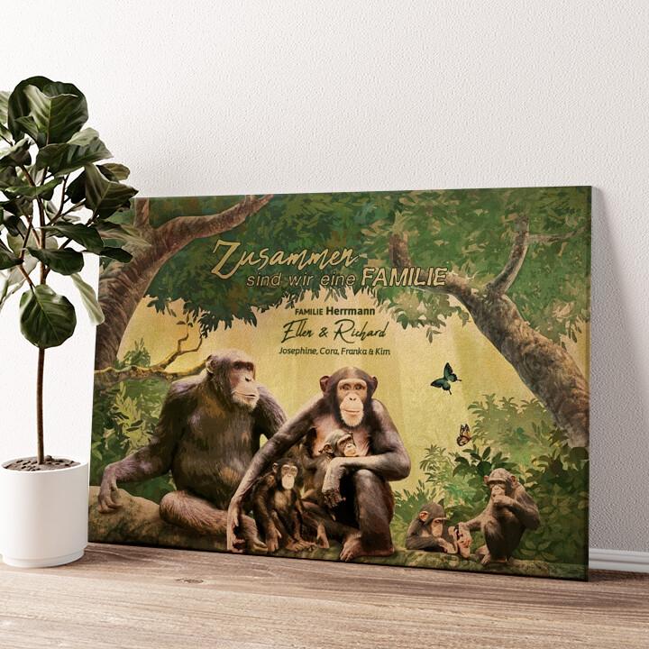 Affenfamilie Wandbild personalisiert