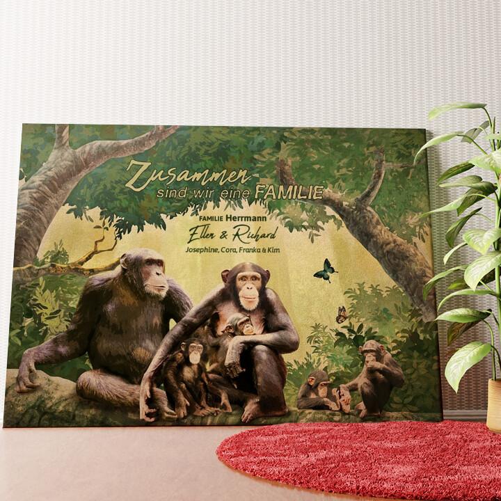 Personalisiertes Wandbild Affenfamilie