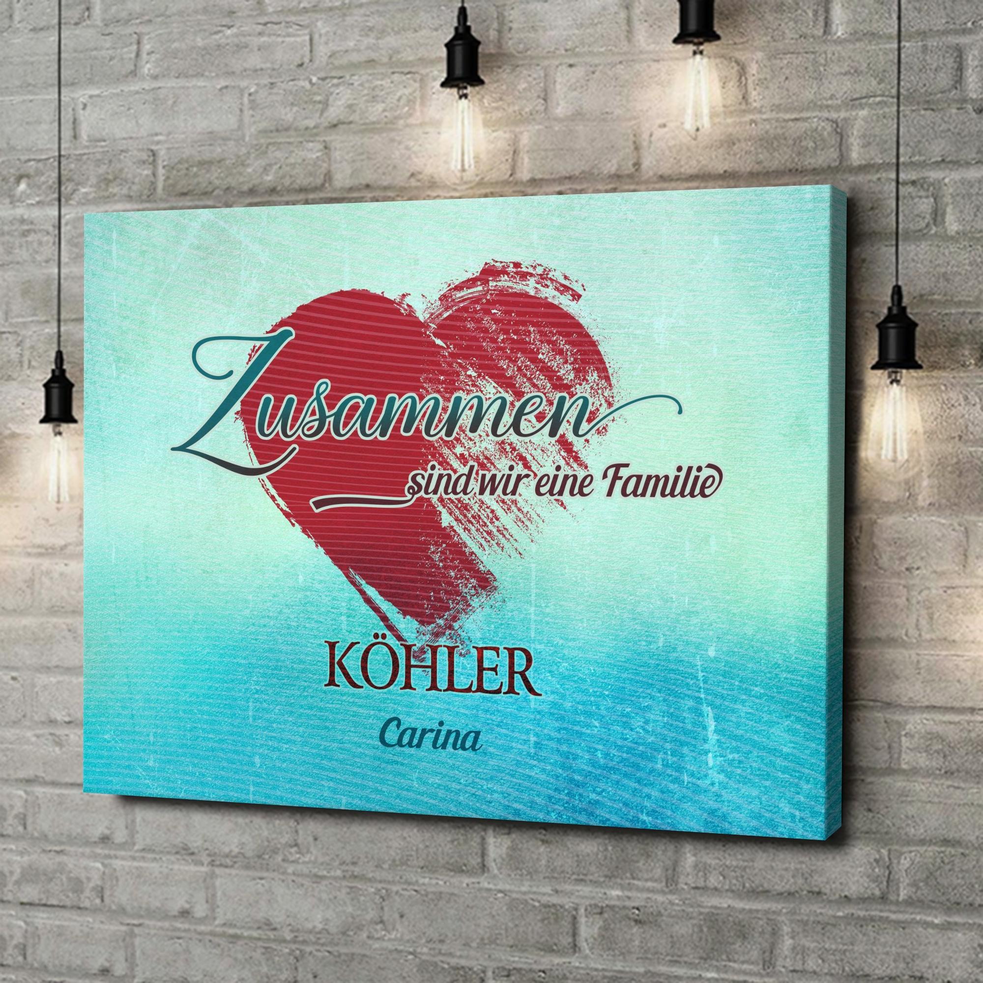 Leinwandbild personalisiert Familienherz