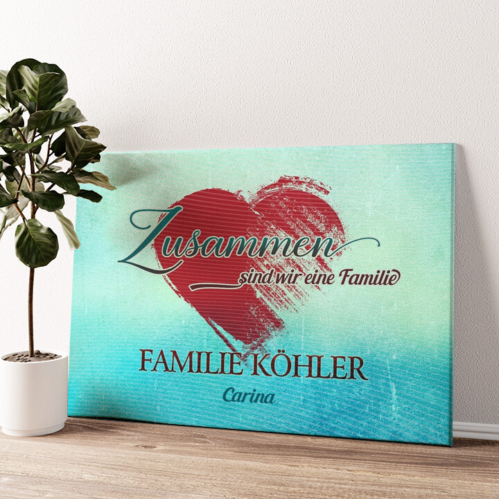 Familienherz Wandbild personalisiert