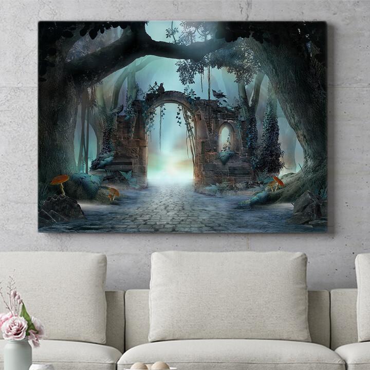 Personalisierbares Geschenk Fantasy Wald mit Torbogen
