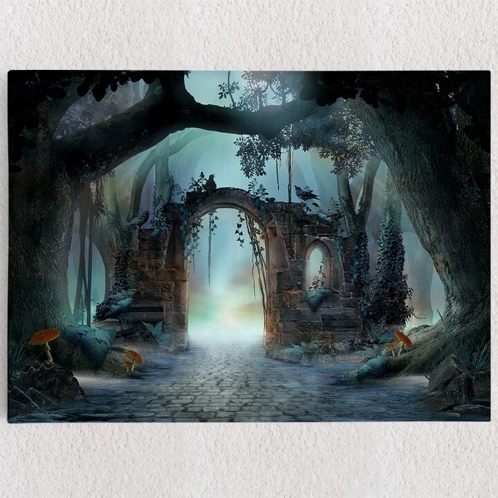 Personalisiertes Leinwandbild Fantasy Wald mit Torbogen