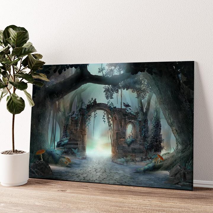 Fantasy Wald mit Torbogen Wandbild personalisiert