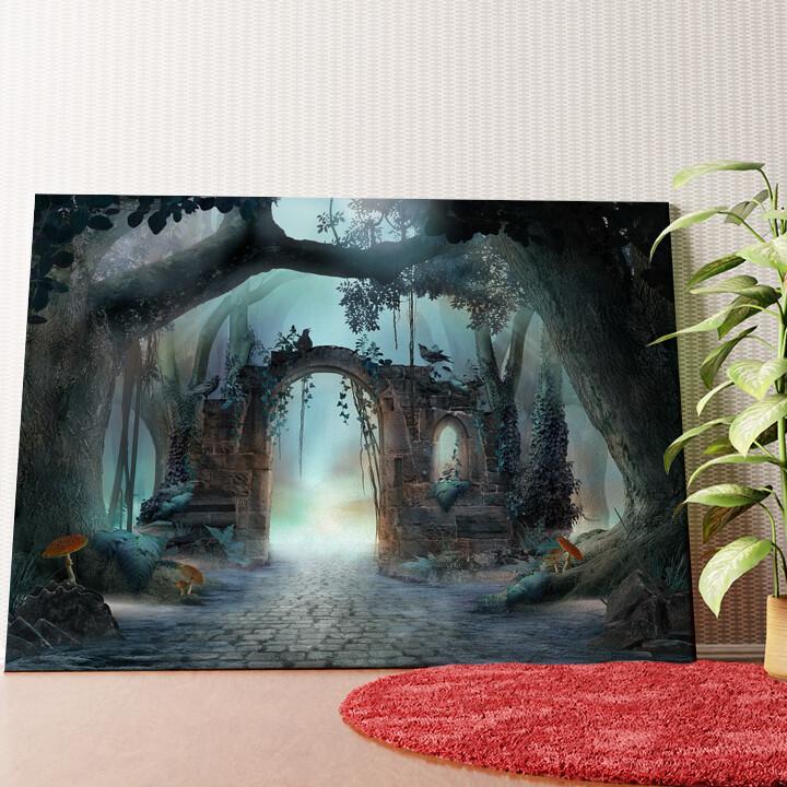 Personalisiertes Wandbild Fantasy Wald mit Torbogen