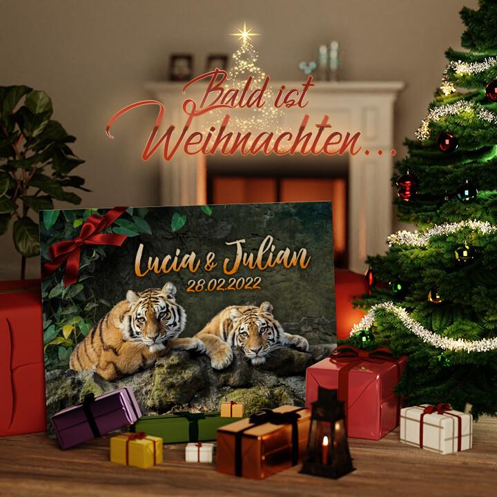 Liebesleinwand zu Weichnachten Tigerpaar
