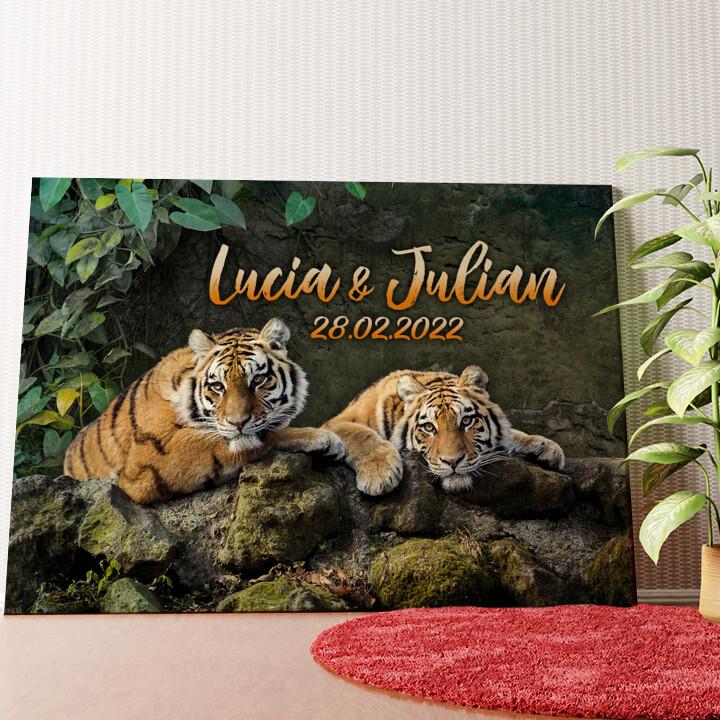 Personalisiertes Wandbild Tigerpaar