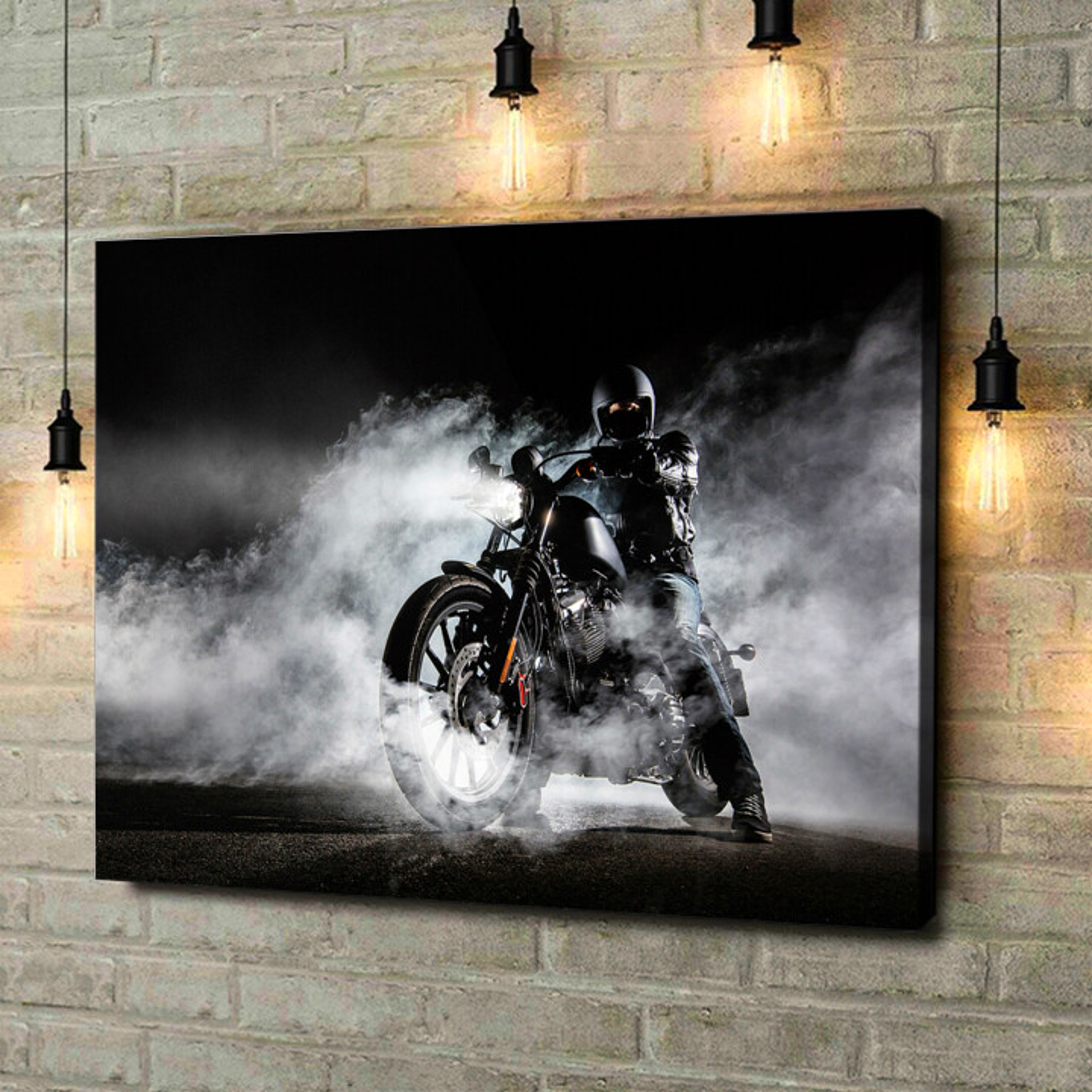 Leinwandbild personalisiert Motorrad im Nebel