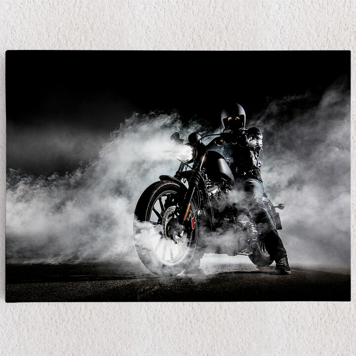 Personalisiertes Leinwandbild Motorrad im Nebel