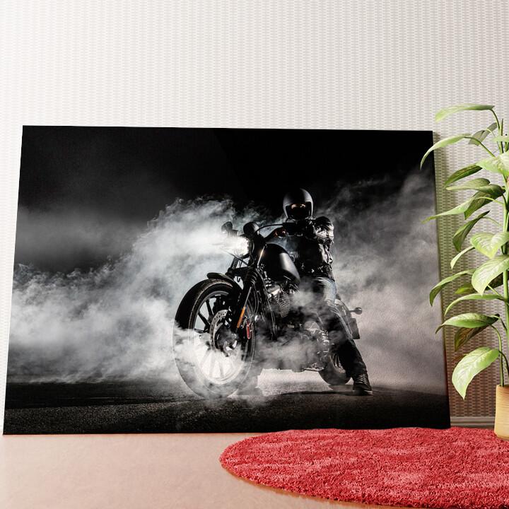 Personalisiertes Wandbild Motorrad im Nebel