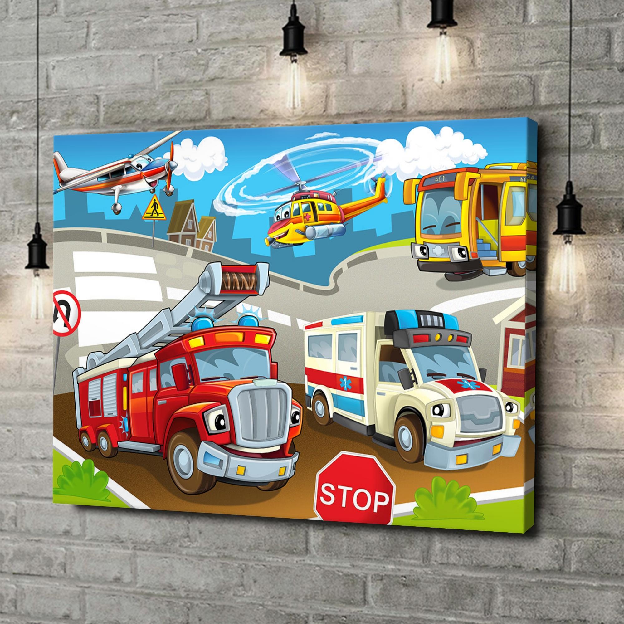 Leinwandbild personalisiert Cartoon Feuerwehr