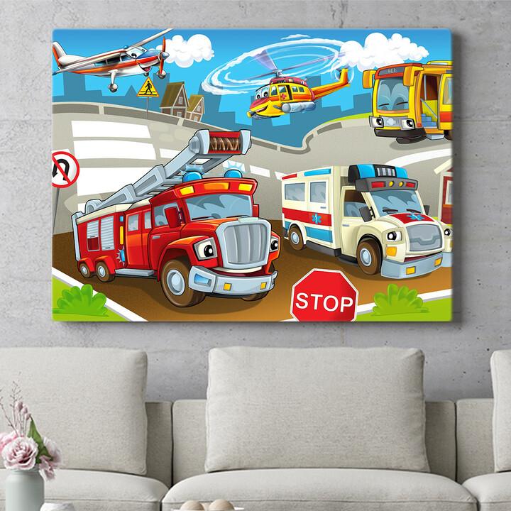 Personalisierbares Geschenk Cartoon Feuerwehr