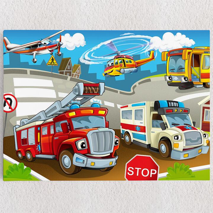 Personalisiertes Leinwandbild Cartoon Feuerwehr