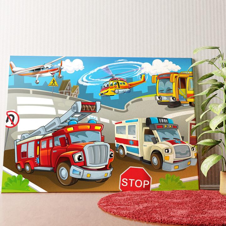 Personalisiertes Wandbild Cartoon Feuerwehr