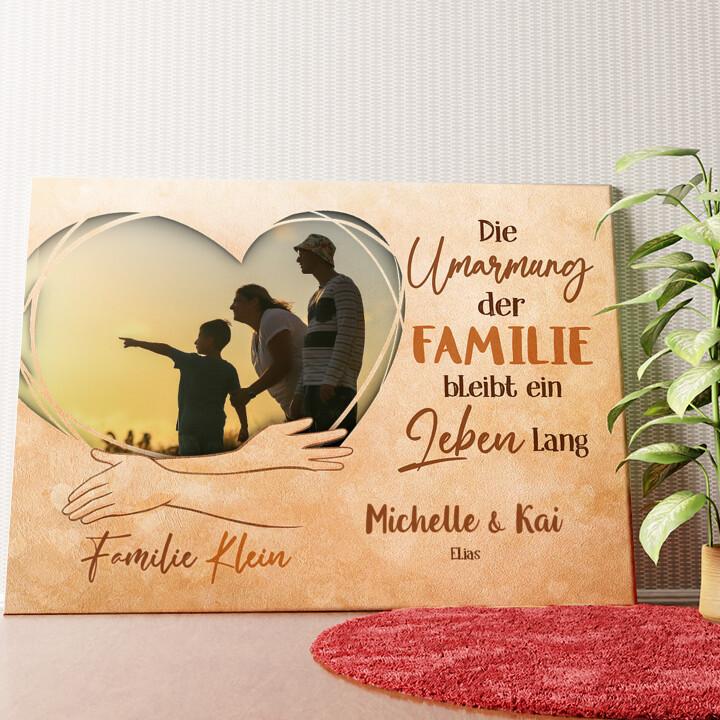 Personalisiertes Wandbild In den Armen der Familie