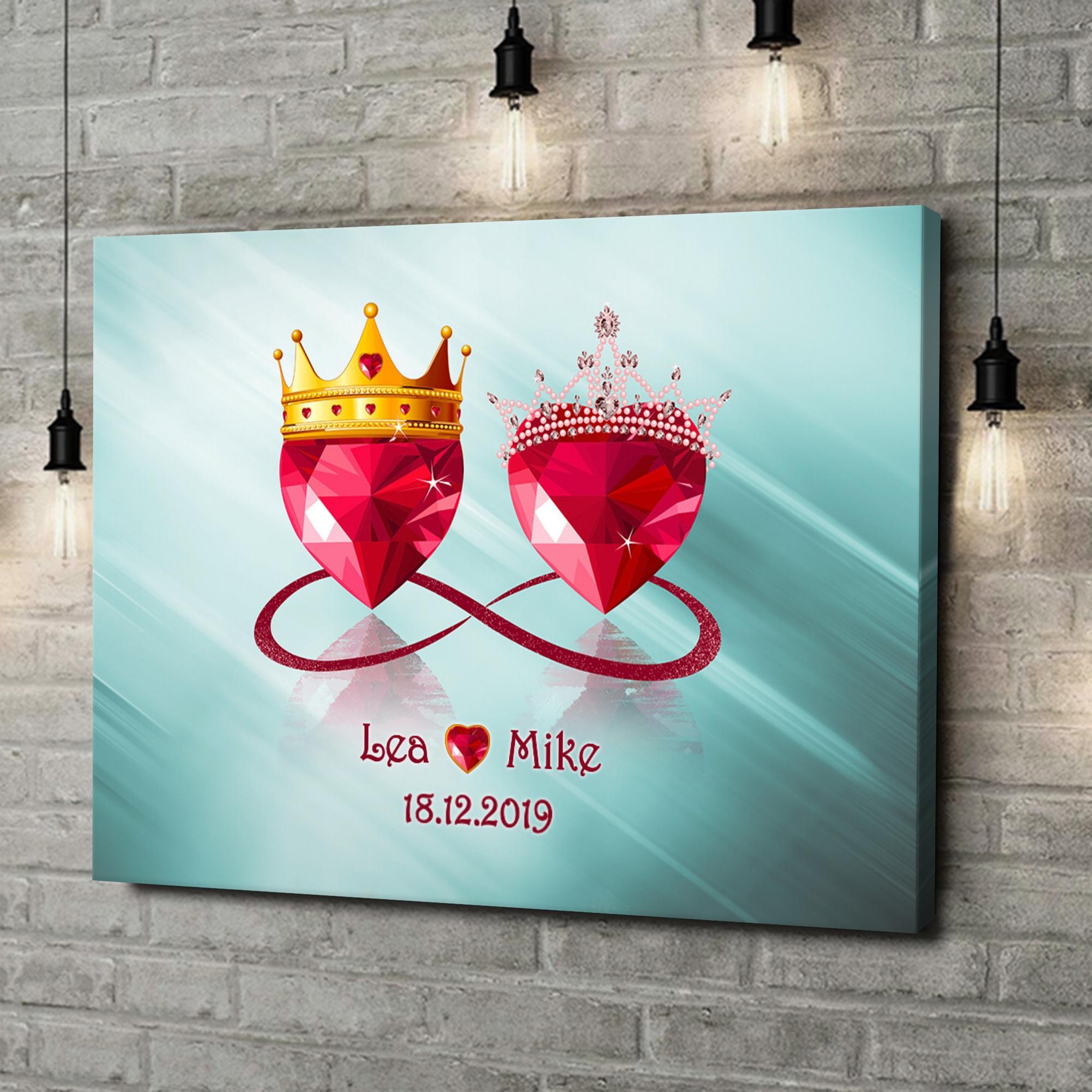 Leinwandbild personalisiert Royale Liebe
