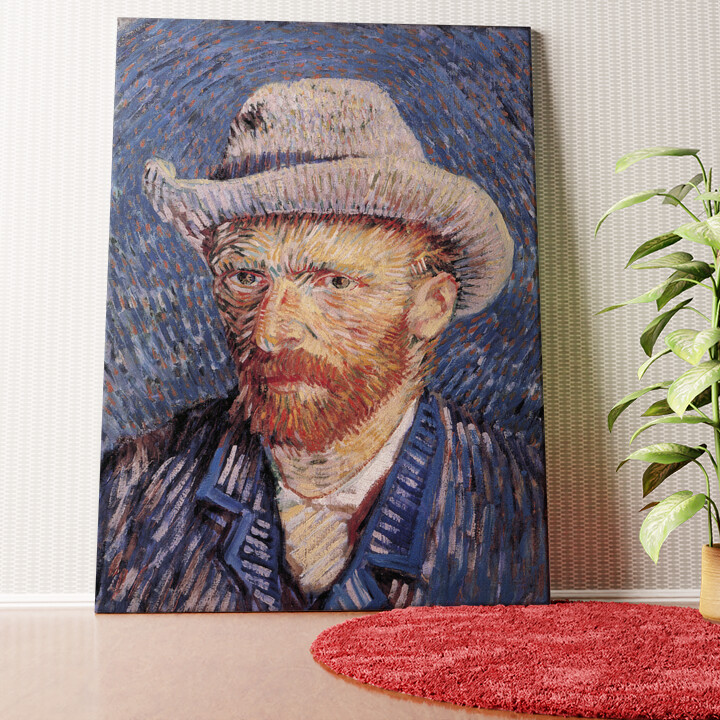 Personalisiertes Wandbild Selbstportrait mit Filzhut