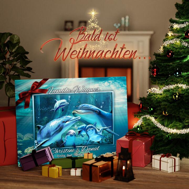 Liebesleinwand zu Weichnachten Delfinfamilie