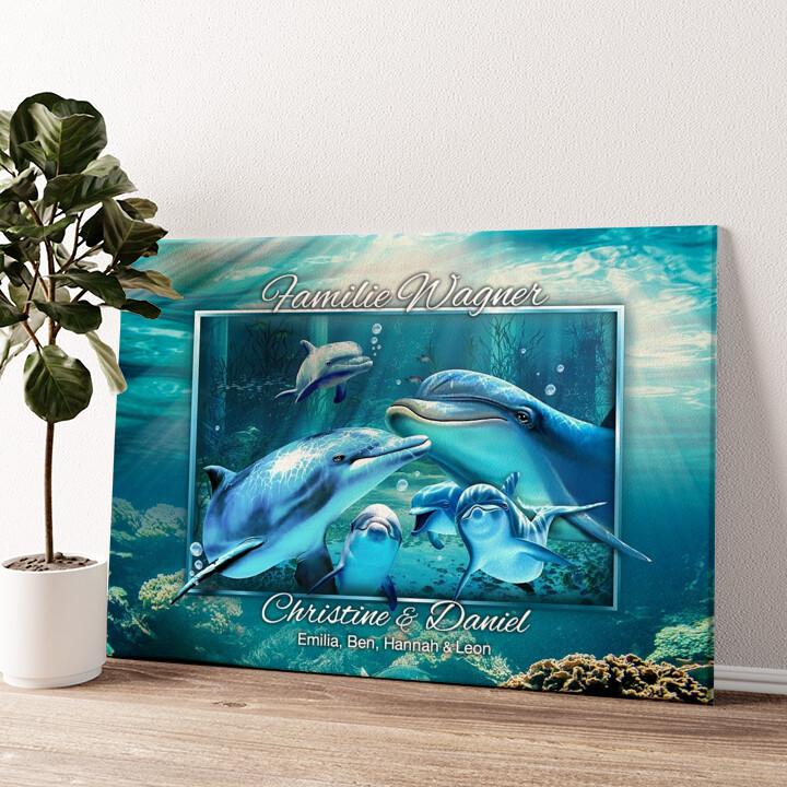 Delfinfamilie Wandbild personalisiert