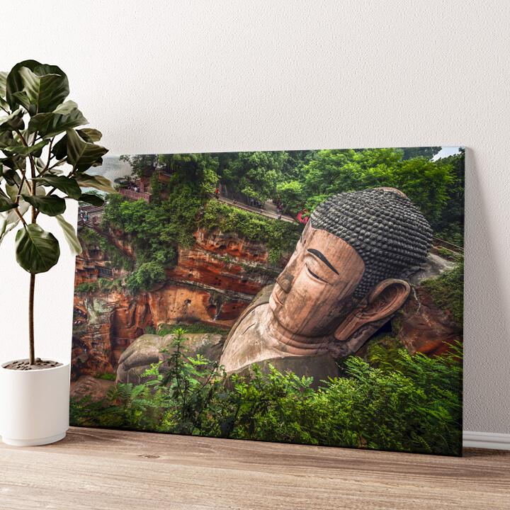 Buddha Statur Leshan China Wandbild personalisiert