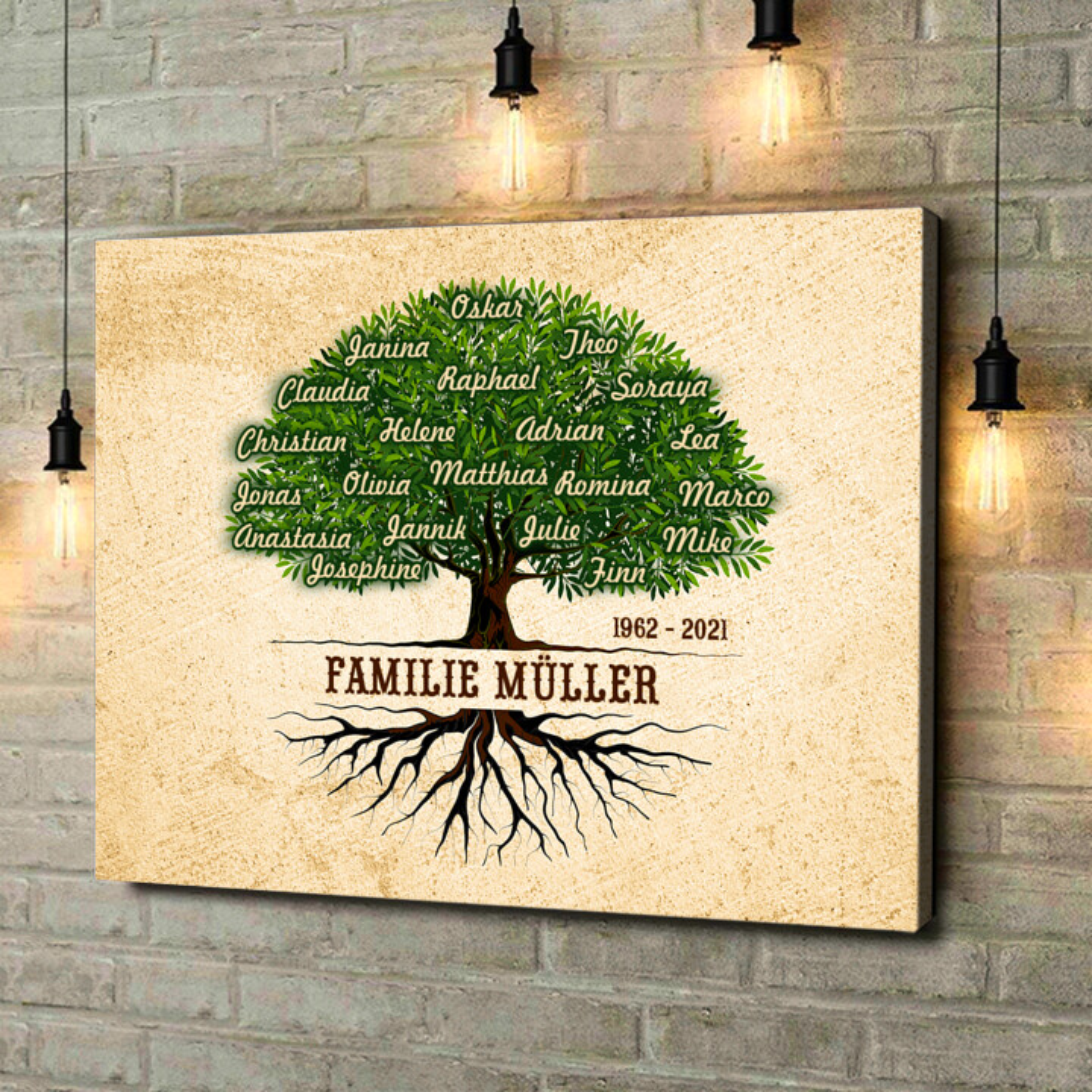 Leinwandbild personalisiert Familienwurzeln