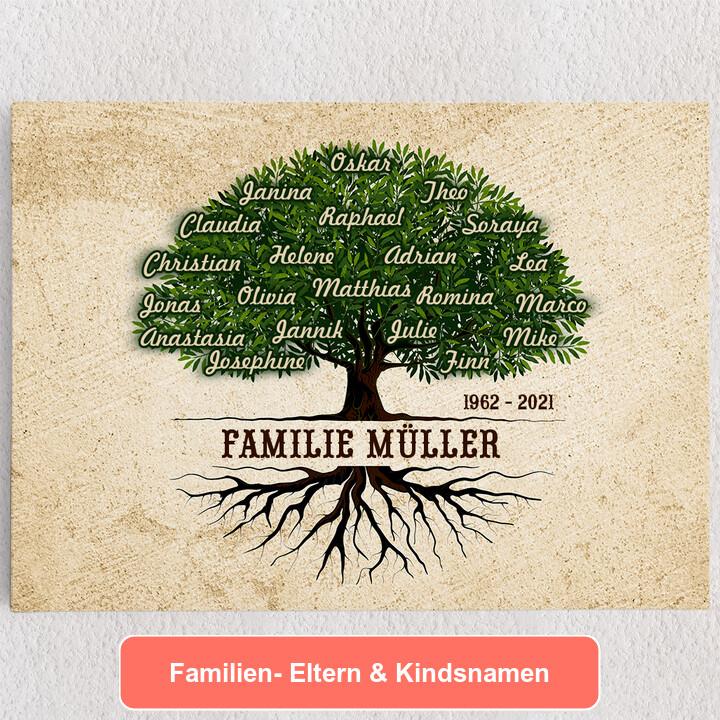 Personalisiertes Leinwandbild Familienwurzeln