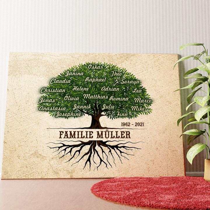 Personalisiertes Wandbild Familienwurzeln