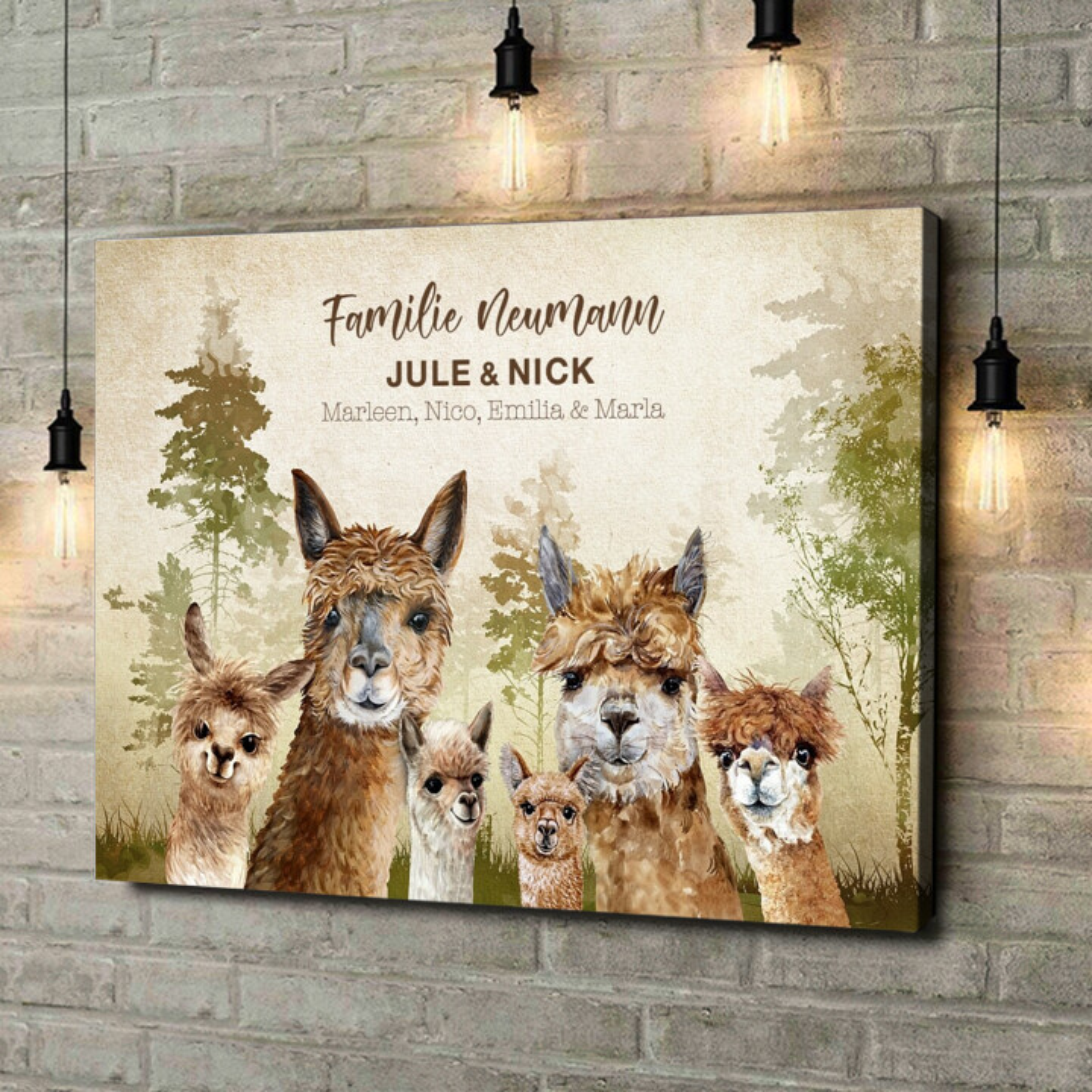 Leinwandbild personalisiert Alpacafamilie
