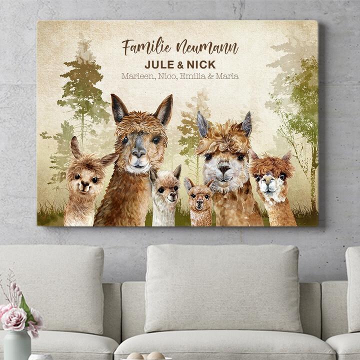 Personalisierbares Geschenk Alpacafamilie