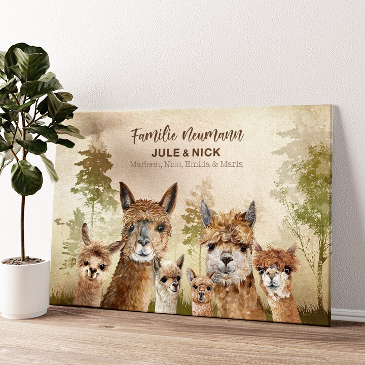 Alpacafamilie Wandbild personalisiert