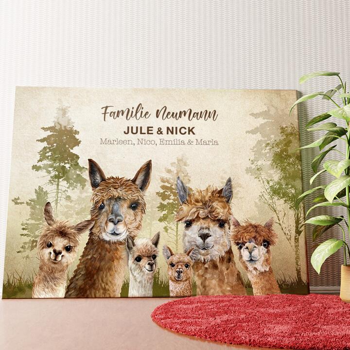 Personalisiertes Wandbild Alpacafamilie