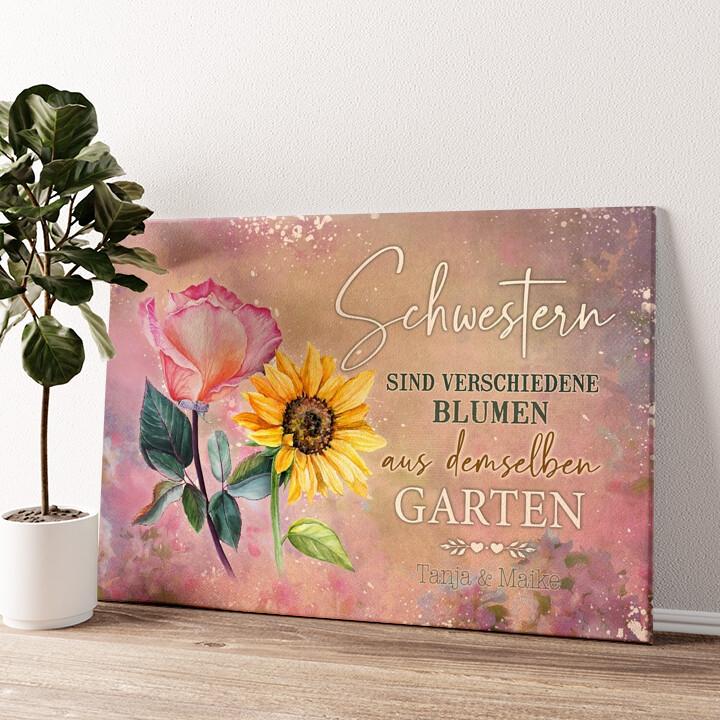 Blumenschwestern Wandbild personalisiert